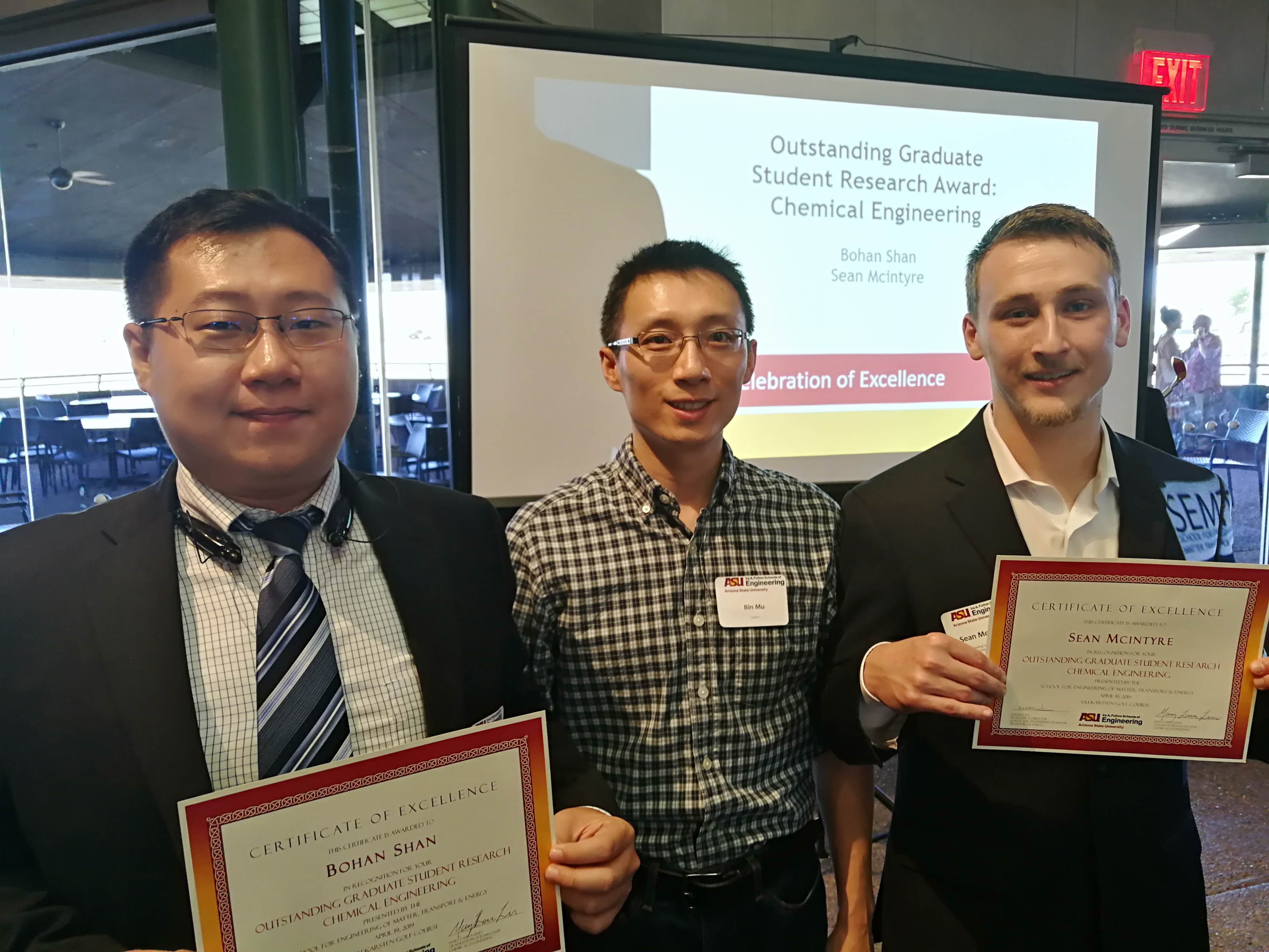 ASU-SEMTE Outstanding Graduate Student Research Award given to lab members.